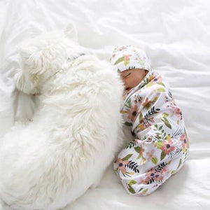 Baby Newborn Swaddle Blanket + Cap Cocoon Wrap Cotton Swaddling Bag Sack Bedding - systematicshop.com