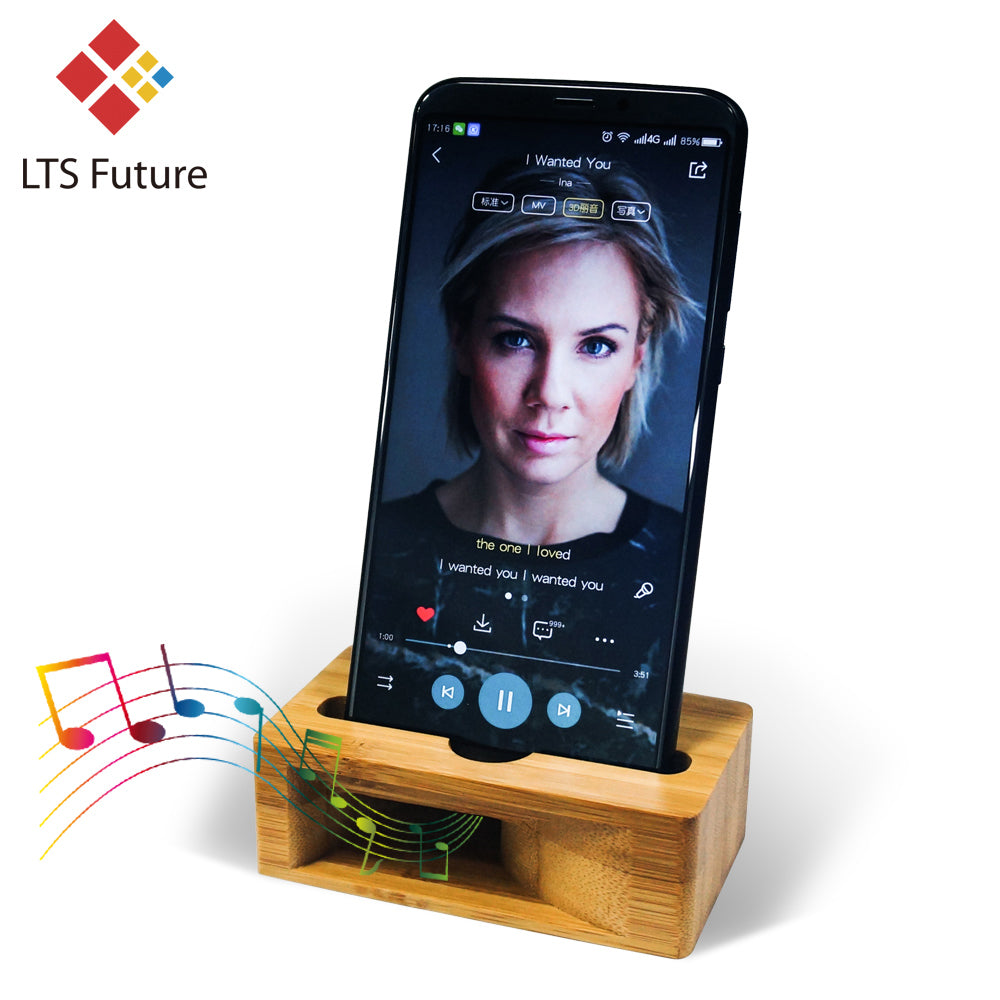 Mobile Phone Bamboo Loudspeaker Sound Amplifier Bracket Wood Desktop Stand Support - systematicshop.com