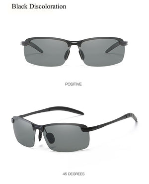 Photochromic Sunglasses Polarized Chameleon Fashion Rimless For Men - systematicshop.com