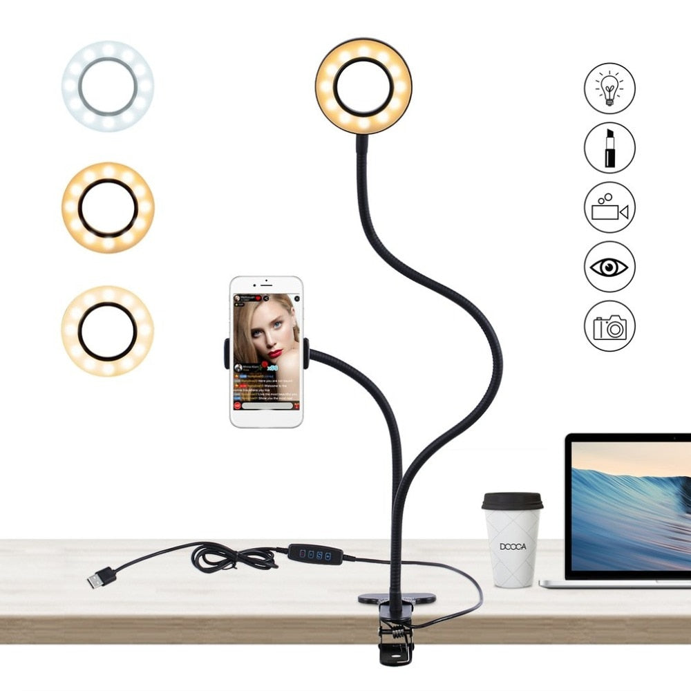 2 in 1 Cell Phone Holder with LED Selfie Ring Light for Live Stream Phone Clip Holder Adjustable Desk Lamp Makeup Light - systematicshop.com