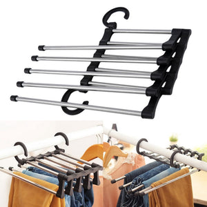 Adjustable Pants Rack Trouser Hanger Drying Racks Folding Space Saving Portable Hand-Held Closet Organizer - systematicshop.com
