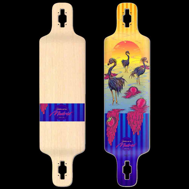 "Backfire Madrid DTF 39"" Flamingos Drop Through Longboard-Made in USA"