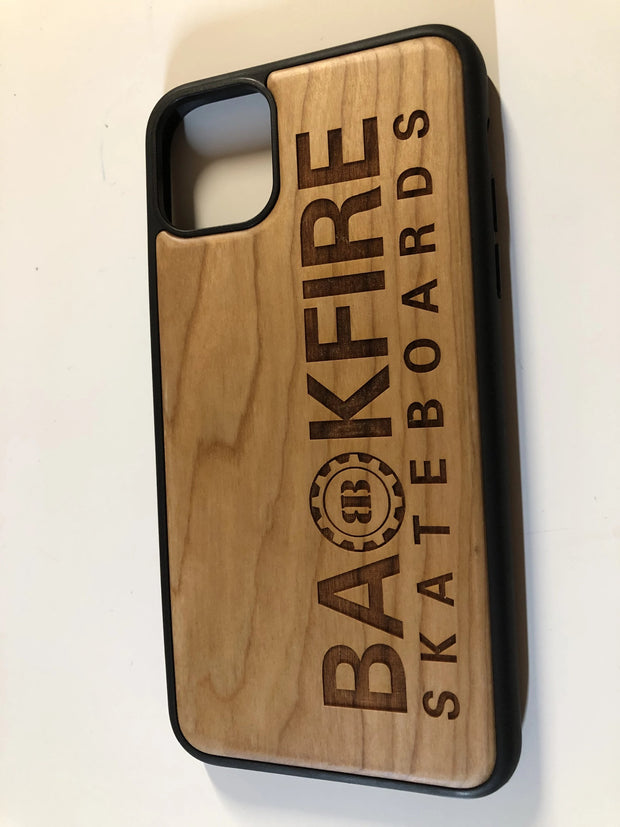 Iphone 11 Case from Backfire,  carved logo on nature wood