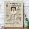 Personalized Happy 90th birthday gift ideas newspaper canvas gift for grandma grandpa