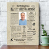 Personalized Happy 70th birthday gift ideas newspaper canvas gift for grandma grandpa