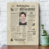 Personalized Happy 40th birthday gift ideas newspaper canvas gift for mom for dad