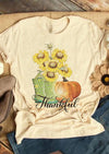 Sunflower Boots Thankful Pumpkin T-Shirt Tee - Apricot