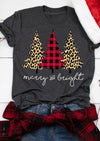Plaid Leopard Printed Christmas Tree Merry And Bright T-shirt - Gst