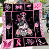 Skullgirl Fight For Breast Cancer Blanket Gift For Breast Cancer Awareness