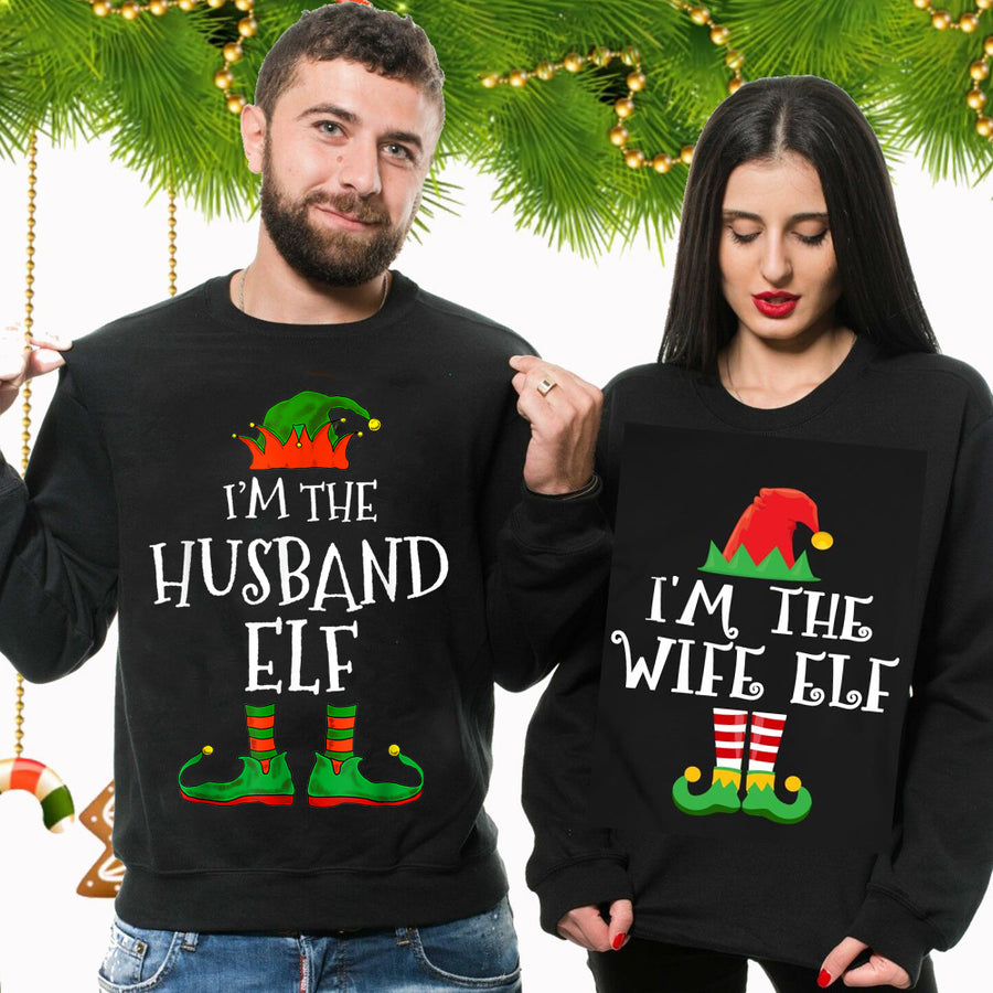 Hubby and Wifey Christmas Sweatshirt Jumpers Top Family Siblings Couples Xmas