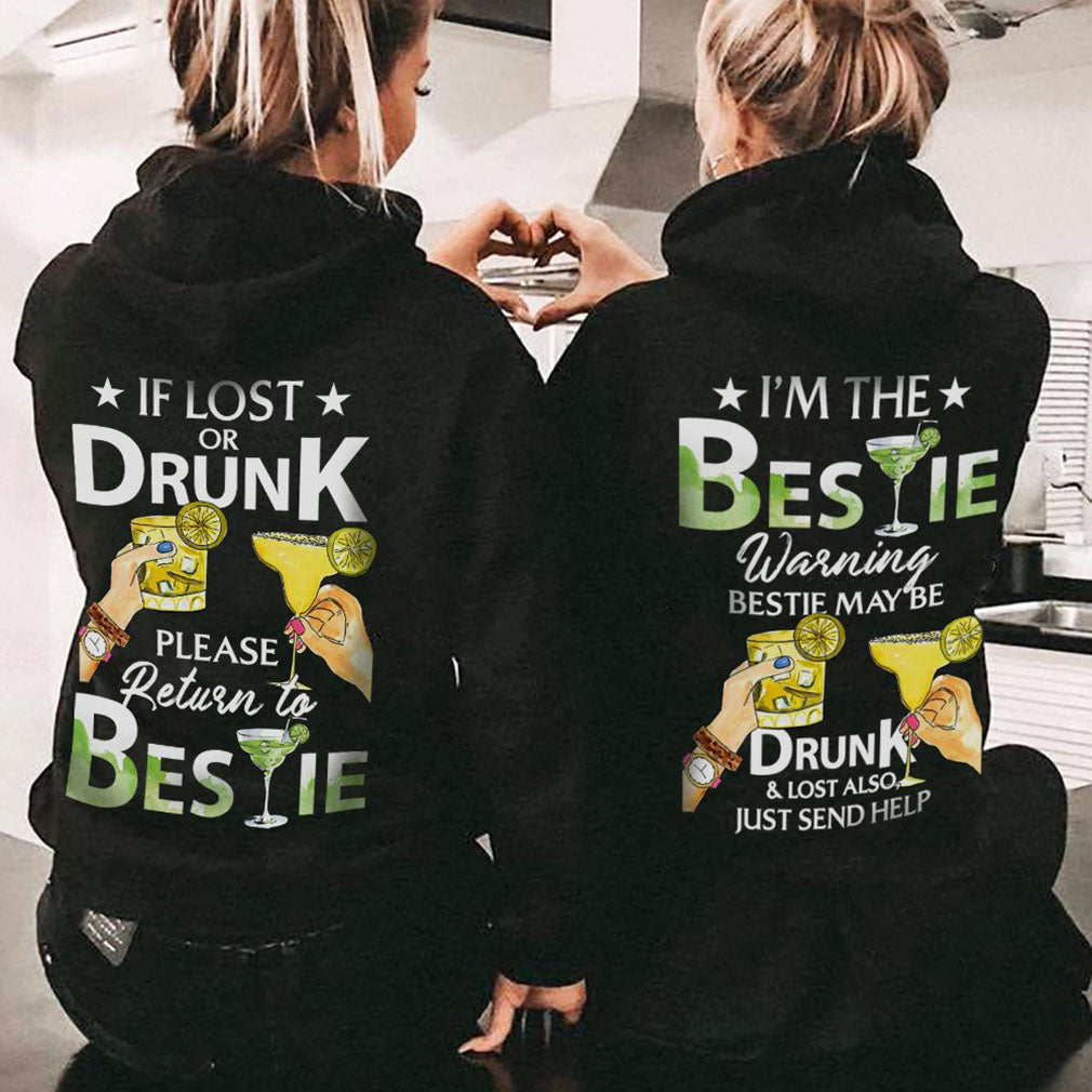 Gifts for best friend - Please return to bestie when im drunk couple hoodie - GST