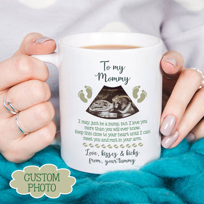 Personalized Gift for mom to be To my mommy from the bump Kisses and kicks Mug