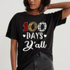 100th day of school - Buffalo plaid leopard 100 days y'all funny 100th day t-shirt - GST