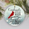 Cardinals appear When Angel Near - Memorial Ornament