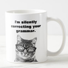 I silently correcting your grammar cat mug - GST