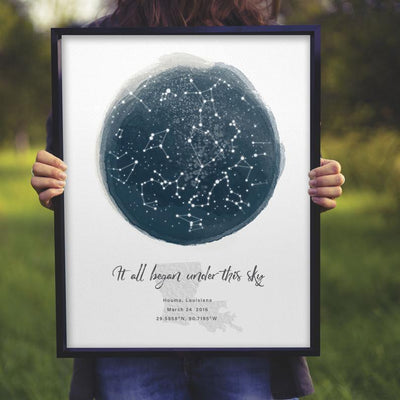 Personalized Gift For Her For Him It All Began Under This Sky Star Map Poster