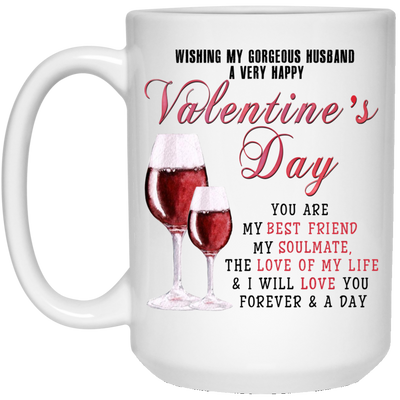 Gifts for husband - Wishing my gorgeous husband a very happy valentine's day mug - GST
