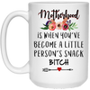 Motherhood Is When You've Become A Little Person's Snack Mug
