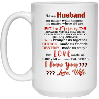To My Husband No Matter What Happens No Matter Where We Are Mug - Gifts For Husband