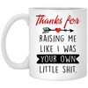 THANKS FOR RAISING ME LIKE I WAS YOUR OWN LITTEL SH*T  MUG - GIFT FOR FATHERS