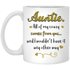 Auntie all of my crazy comes from you mug - gifts for aunt