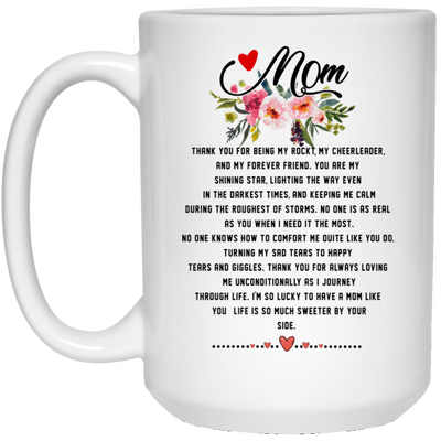 Mom Thank You For Being My Rock My Cheerleader Mug
