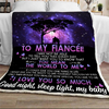 To my fiancee you mean the world to me - blanket - gift for fiancee GST