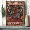 You And Me Hold Hand Together Skull Lovers Canvas