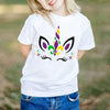 Mardi gras unicorn eyelashes face shirt for kids - GST