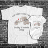 Personalized Our First Father's Day Elephant Baby Grow Matching Shirts Dad And Baby Gift