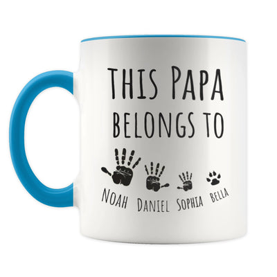 Personalized This Papa Belongs To Blue Mug - Gift For Grandfather