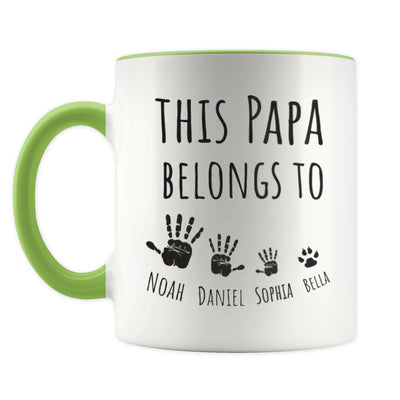 Personalized This Papa Belongs To Green Mug - Gift For Grandfather