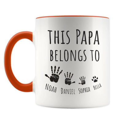 Personalized This Papa Belongs To Orange Mug - Gift For Grandfather