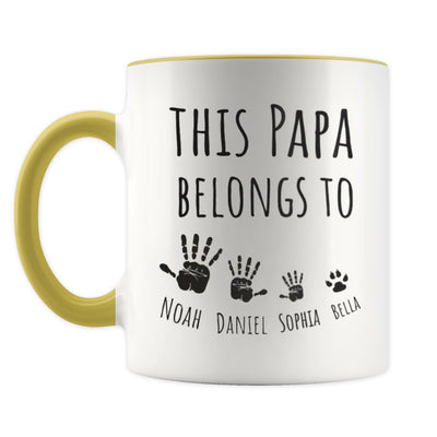 Personalized This Papa Belongs To Yellow Mug - Gift For Grandfather
