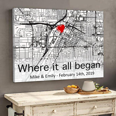 Personalized Couple Gifts - The First Meeting Street Map Couple Poster Canvas Customized Anniversary Gifts - Gst