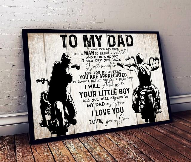 To My Dad From Son Biker Dad Poster - Gift For Father's Day