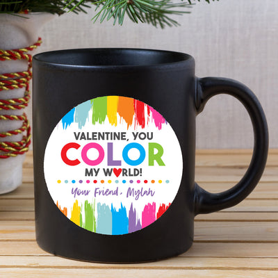 Personalized gifts for friend - Valentine you color my world custom name mug - GST