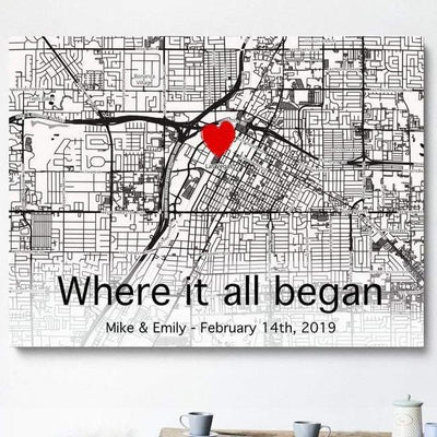 Personalized couple gifts - The first meeting street map couple poster canvas customized anniversary gifts