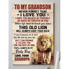 Grandpa to grandson i love you lion poster canvas