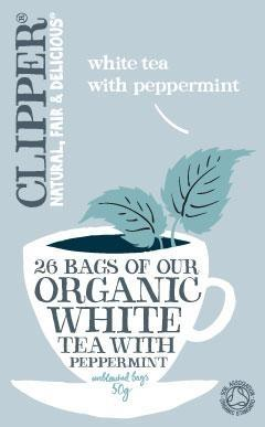 Clipper Organic White Tea with Peppermint 26 Teabags*+