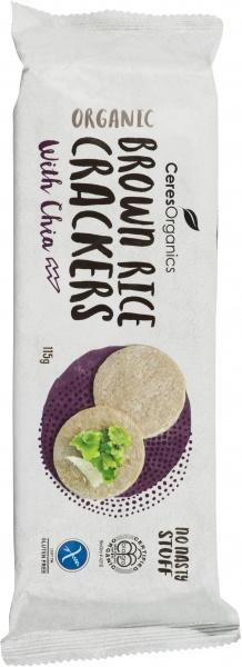 Ceres Organics Bio Brown Rice Crackers with Chia G/F 115g