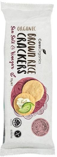 Ceres Organics Brown Rice Crackers Sea Salt & Vinegar G/F 115g