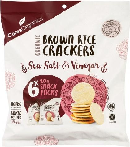 Ceres Organics Brown Rice Crackers Sea Salt & Vinegar Multipack 6x20g
