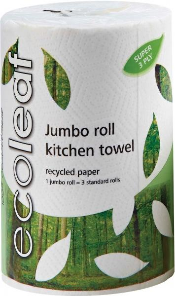 Ecoleaf Recycled Paper Jumbo Kitchen Towel Roll 3Ply