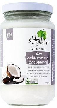 Global Organics Coconut Oil Raw Cold Pressed 300g