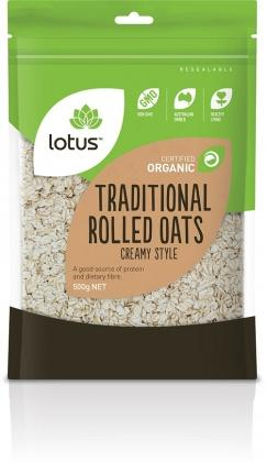 Lotus Organic Traditional Rolled Oats 500gm