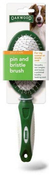 Oakwood Daily Care Pin And Bristle Brush for Coarse or Wooly Coat 1Pack