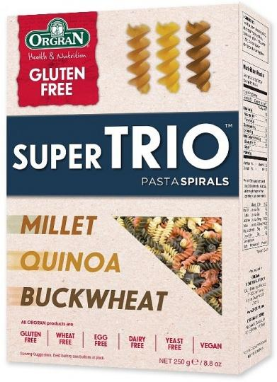 Orgran Super Trio Buckwheat, Quinoa and Millet Spiral Pasta 250g