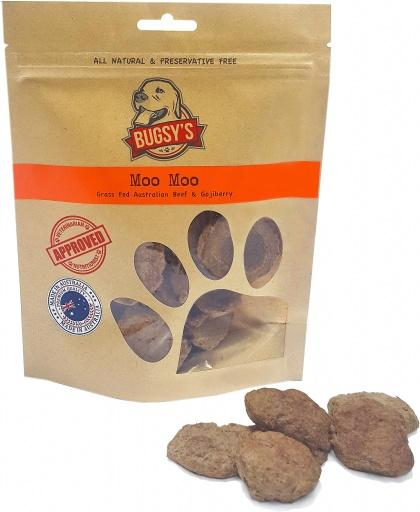 Bugsy's Pet Treats Moo Moo Grass Fed Aust Beef & Gojiberry 70g