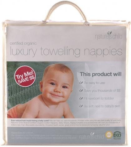 Natures Child Luxury Towelling Nappies Pkt 6